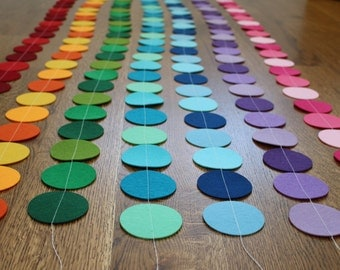 Sale! Felt Circle Party Banners/Garland, Red, Orange, Green, Blue, Turquoise, Pink, Purple; Decorate birthdays, baby showers, weddings