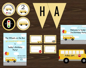 Wheels on the Bus Printable Party Package