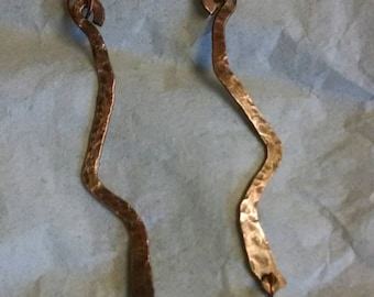 Hammered Copper Squiggle Earrings with Blue Glass Beads