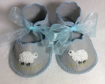 Fleecy sheep on gray felt trimmed in blue- Hand-embroidered felt baby booties