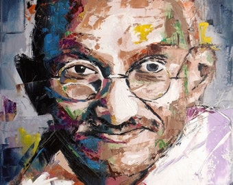 "Mahatma Gandhi, Large Original Painting, 30"", 40"", 48"", Portrait, Gift, Palette Knife, Art, Abstract, Worldwide Shipping, Richard Day"
