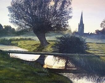 Burford Sunrise Print of an Acrylic painting.