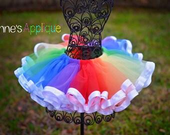 Rainbow Tulle Tutu 6m-5t, Pastel or Vivid