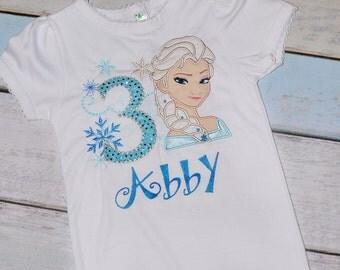 Elssa or Ana Frozen Applique Birthday Shirt Custom