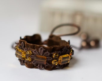 Brown Fabric Cuff BRACELET with lace