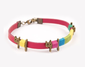 Bracelet real leather cats red cute