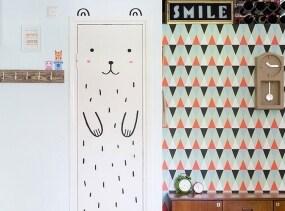 Haru the Happy Bear Door decal / Wall decal for doors, windows or closets / Nursery decor / Bear Vinyl Sticker