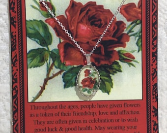 Red Rose Charm Necklace on Story Card
