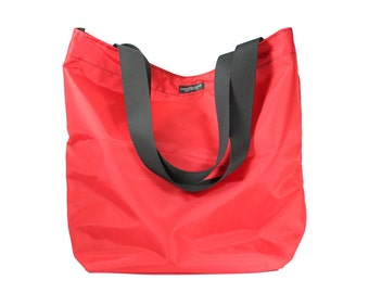 Red Basic Market Tote Bag made from 100% Nylon --durable, lightweight, water-resistant, washable.