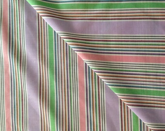 Striped cotton fabric in lavender, green, pink, orange, red, black and white chambray style 1 yard