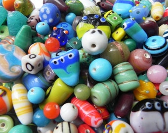 two Pound awesome LAMPWORK BEADS/ Indian Beads  handmade mix  Assorted.extra large.