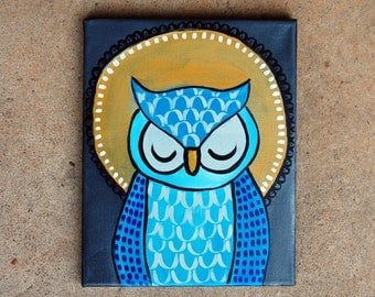 """Owl Painting - Number 8 of Series """"Eugene"""""""