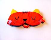 Kitty Cat Sleep Eye Mask, Stray Kitty Cat Mask, ORANGE Cat Mask, Eye Mask, Sleeping Mask, Bridesmaid Gift, Bride Gift