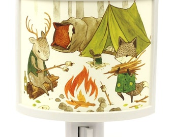 Camping Friends Teagan White Night Light woodland theme kids room decor Nursery nightlight Baby Gifts Under 25 fox deer Happy Campers cute