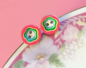 Pink Flower Earrings, Colorful Stud Earrings, Rainbow Earrings, Hypoallergenic Surgical Steel Earrings, Handcrafted by KreatedByKelly (LB1)