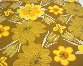 Vera Vintage Brown Yellow and Orange 50 inch Square Tablecloth, Vera, Tablecloth