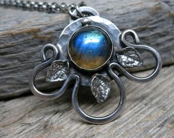 Flora, Goddess of Spring necklace  ... metalwork sterling silver / hammered openwork flower / leaves / blue labradorite