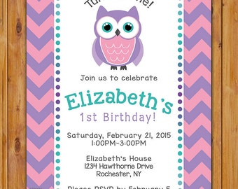 First Birthday Invite Owl Look Whoo's Turning One 1st Birthday Party Invitation Chevron Pink Purple Teal Purple Pink 5x7 Digital JPG (109)