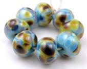 Serendipity - Handmade Artisan Lampwork Glass Beads 8mmx12mm - Blue, Amber, Gold - SRA (Set of 8 Beads)