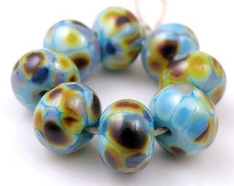 Serendipity - Handmade Artisan Lampwork Glass Beads 8mmx12mm - Blue, Amber, Gold - SRA (Set of 8 Beads)