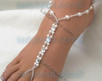 Barefoot Sandals Beach Wedding Sandals Ladybead Swarovski White Pearl Rhinestone Crystal Barefoot Jewelry One Pair TLR21