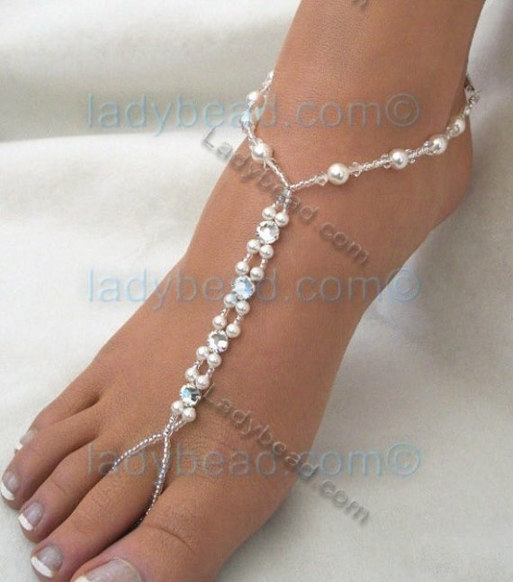 TLR21 Beach Wedding Sandals Ladybead Swarovski White Pearl Rhinestone Crystal Barefoot Jewelry One Pair