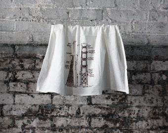 San Francisco buildings diagram tea towel - white cotton floursack kitchen towel