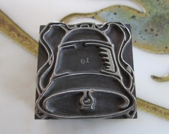 Vintage Letterpress Printers Block Metal Holiday Bell with Ribbon
