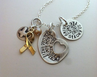 All Cancers Awareness Necklace Hand Stamped You Never Know How Strong You Are