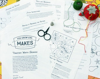 """Makes: """"Tomatoes Worth Growing"""" - Embroidery pattern and instruction booklet"""
