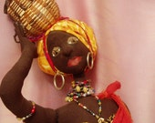 "SUPPLIES, Kit, Pattern, to make  AFRI COCO, 63 cm (25"") Tall, Doll, Cloth Doll, Gifts, Create, Diy, Michelle Munzone, bamboledesigns,"