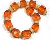 Orange Pop Transparent  Groovy Cubes Lampwork Beads