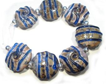 Lampwork Beads  Handmade Glass  Denim Blues Lentils