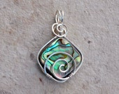 Paua and Sterling Silver Reversible Wave Abalone Mother of Pearl Pendant with Green Blue Pink and Purple