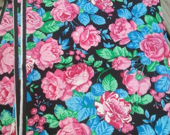 "Vintage 80s 90s Floral Rose  Black Pink Blue Print 1.75 yards x 45"" Wide Cotton Fabric"