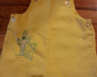Vintage 60s 70s Yellow Siesta Mexican Cactus Hombre Embroidered Overalls Jumpsuit 6-9 months
