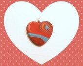 Valentine's Day Gift, Colorful Heart Pendant, Optional Ballchain Necklace, Bright Colors Jewelry, Red Blue Orange, handmade polymer clay