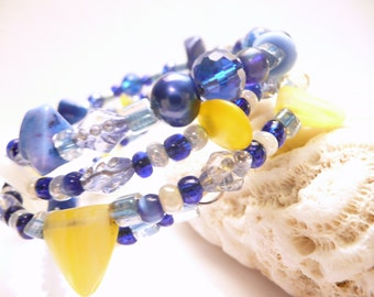 Memory Wire Bracelet, One of a Kind, Blue and Yellow Glass and Stone Beads, Adjustable Wrap Around, Stacked Coil Bangle. Easy On Easy Off