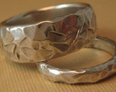 Chiseled stone texture  Wedding band  set  Solid sterling silver  hammered pattern ring