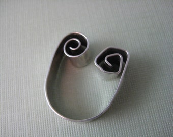 Sterling silver curlyQ spiral ring adjustable size