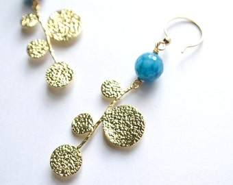 The Rhea- Blue Agate and Gold Pendant Earrings