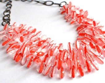 The Ravenna- Red and Clear Glass Gunmetal Chain Necklace