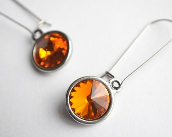 The Chrissy- Tangerine Swarovski Earrings