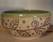Soup/Salad bowls with leaf and sprout garland design in apple green