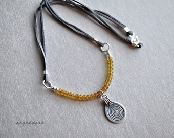 BERBER baltic amber leather and sterling silver 17 inch necklace by srgoddess
