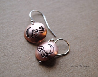 MOONLIGHT FLIGHT sterling silver and copper earrings by srgoddess