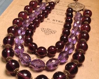 deep purple triple strand necklace