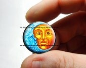Glass Cabochon - Moon and Sun - for Jewelry and Pendant Making