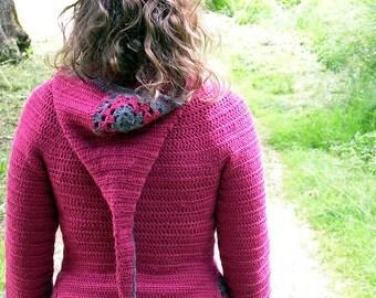 Jehanne hooded cardigan -PDF crochet pattern - goblin pixie fairy liripipe XS to XL Instant download