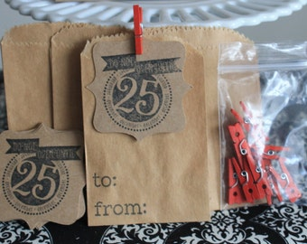 Do not open until Christmas gift wrap kit /  treat bags Set of 10 + tags + mini wood clothespins